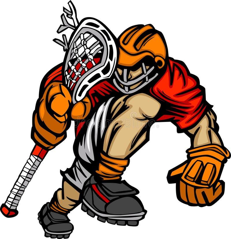 Historieta del jugador del lacrosse stock de ilustración