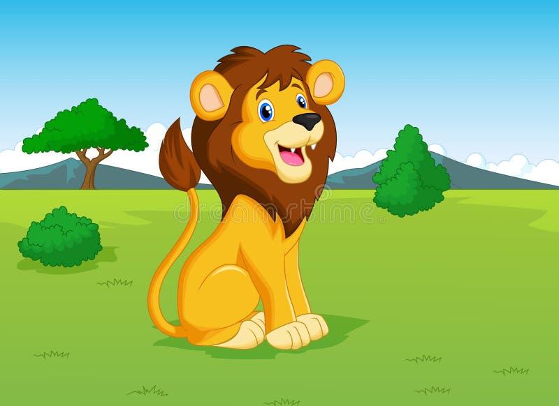 Historieta del león en la sabana ilustración del vector