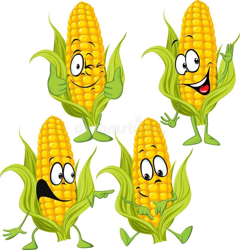 Historieta del maíz dulce con las manos stock de ilustración