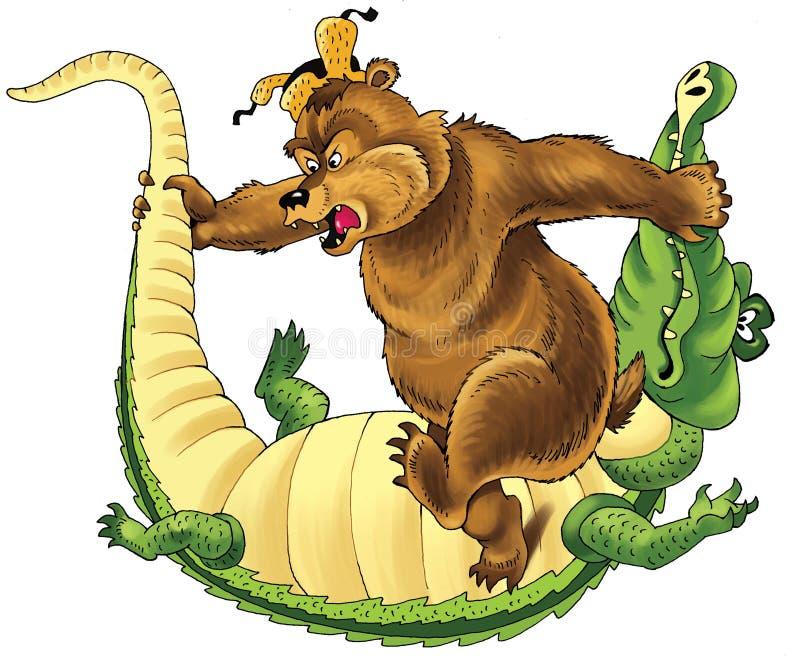 Historieta del modelo del oso, cocodrilo del folclore que lucha stock de ilustración