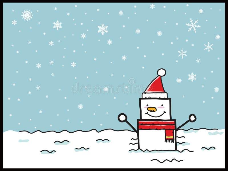 Historieta del muñeco de nieve stock de ilustración