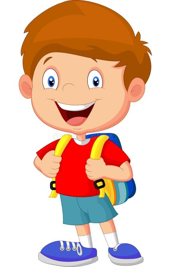 Historieta del muchacho con las mochilas ilustración del vector