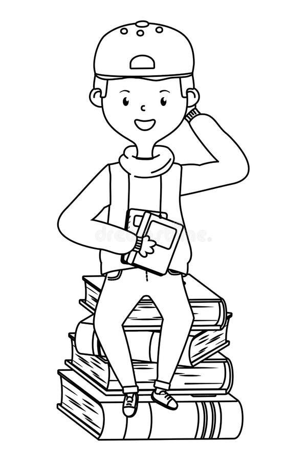 Historieta del muchacho del diseño de la escuela libre illustration