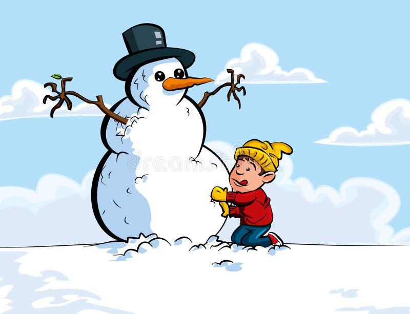 Historieta del muchacho que construye un muñeco de nieve ilustración del vector