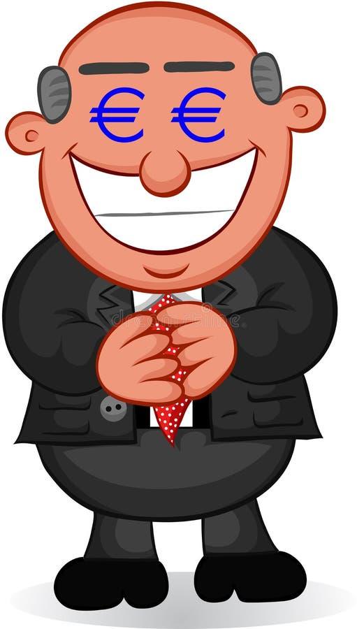 Historieta del negocio - hombre codicioso con los ojos del dinero ilustración del vector