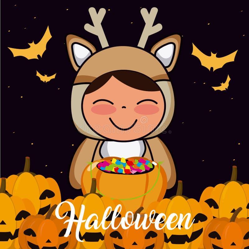 Historieta del niño de Halloween ilustración del vector