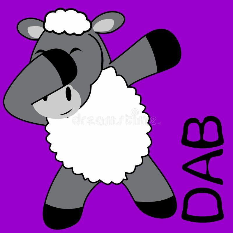 Historieta del niño de las ovejas de la actitud del lenguado que frota ilustración del vector
