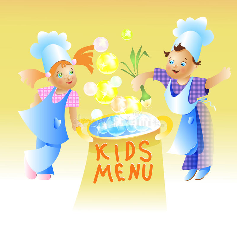 Historieta del niño del diseño de tarjeta del menú de los niños ilustración del vector