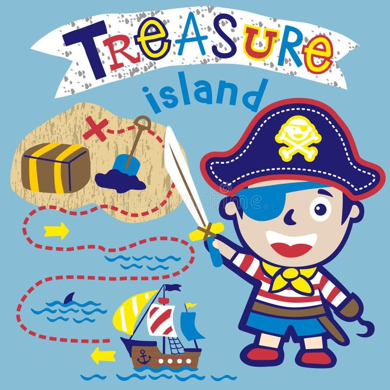 Historieta del niño pequeño el pirata divertido stock de ilustración