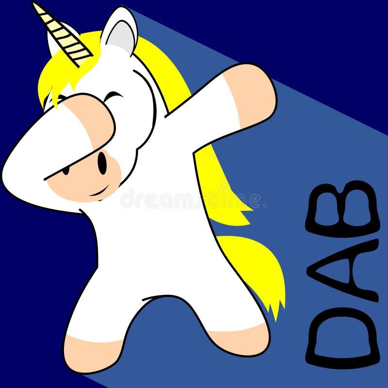 Historieta del niño del unicornio de la actitud del lenguado que frota stock de ilustración
