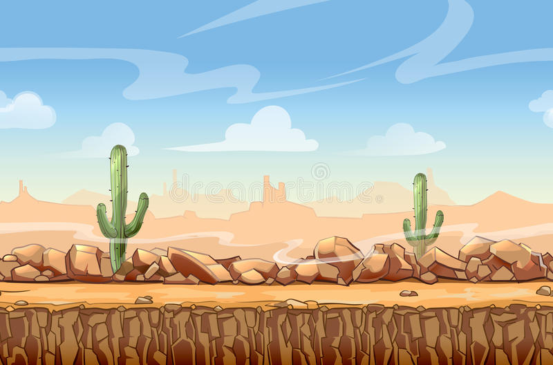 Historieta del oeste salvaje del paisaje del desierto inconsútil stock de ilustración