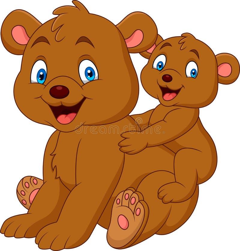 Historieta del oso de la madre y del bebé ilustración del vector
