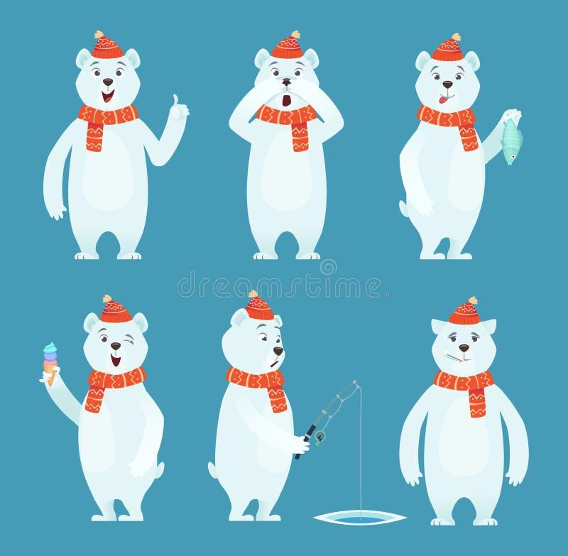 Historieta del oso polar Animal salvaje divertido blanco como la nieve del hielo en diversos caracteres del vector de las actitud stock de ilustración