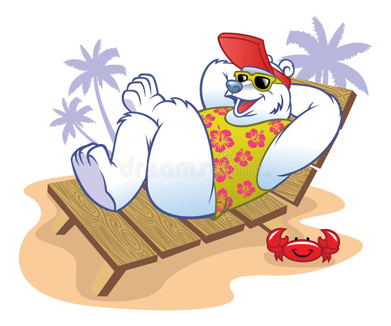 Historieta del oso polar que disfruta del día de fiesta ilustración del vector