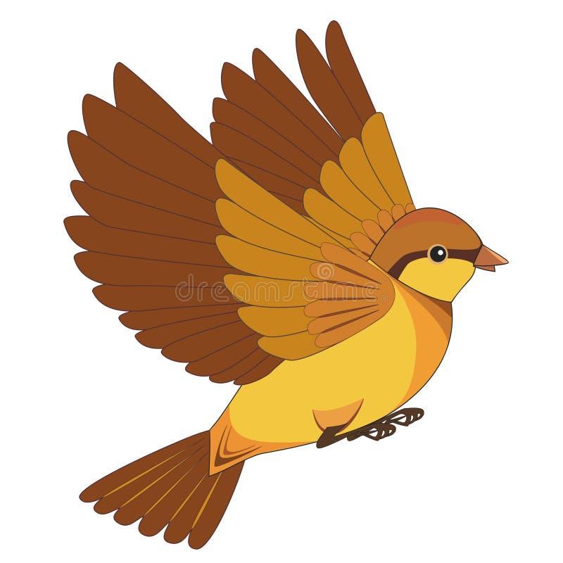 Historieta del pájaro de vuelo aislada en un fondo blanco ilustración del vector