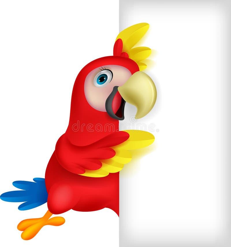 Historieta del pájaro del Macaw con la muestra en blanco stock de ilustración