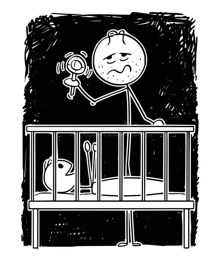 Historieta del padre cansado muerto Entertaining Baby en noche con traqueteo ilustración del vector