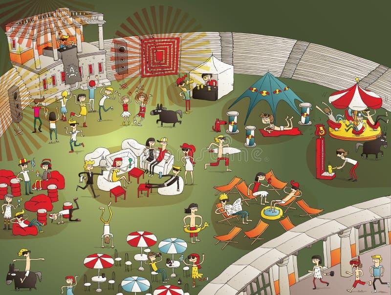 Historieta del partido del verano libre illustration
