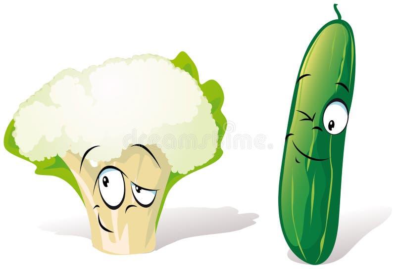 Historieta del pepino de la coliflor stock de ilustración
