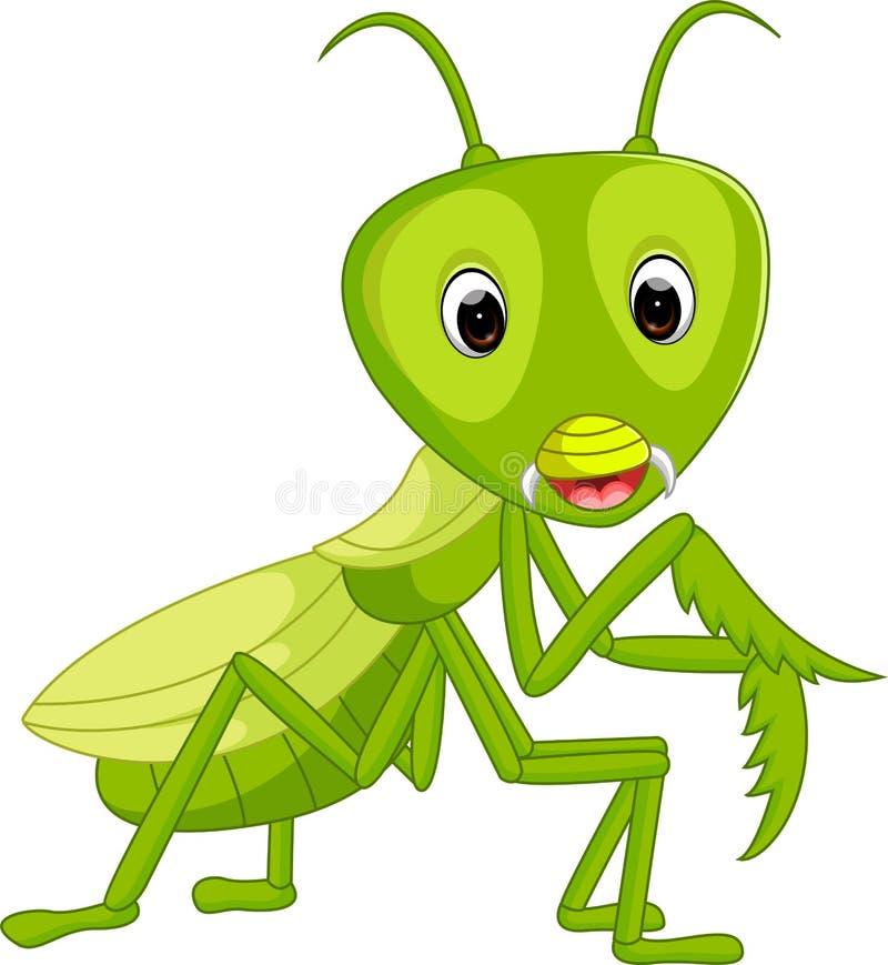 Historieta del saltamontes de la mantis religiosa stock de ilustración