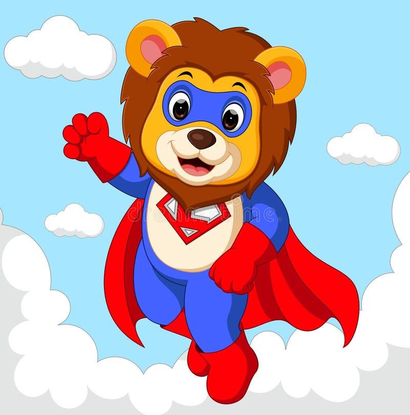 Historieta del super héroe del león ilustración del vector