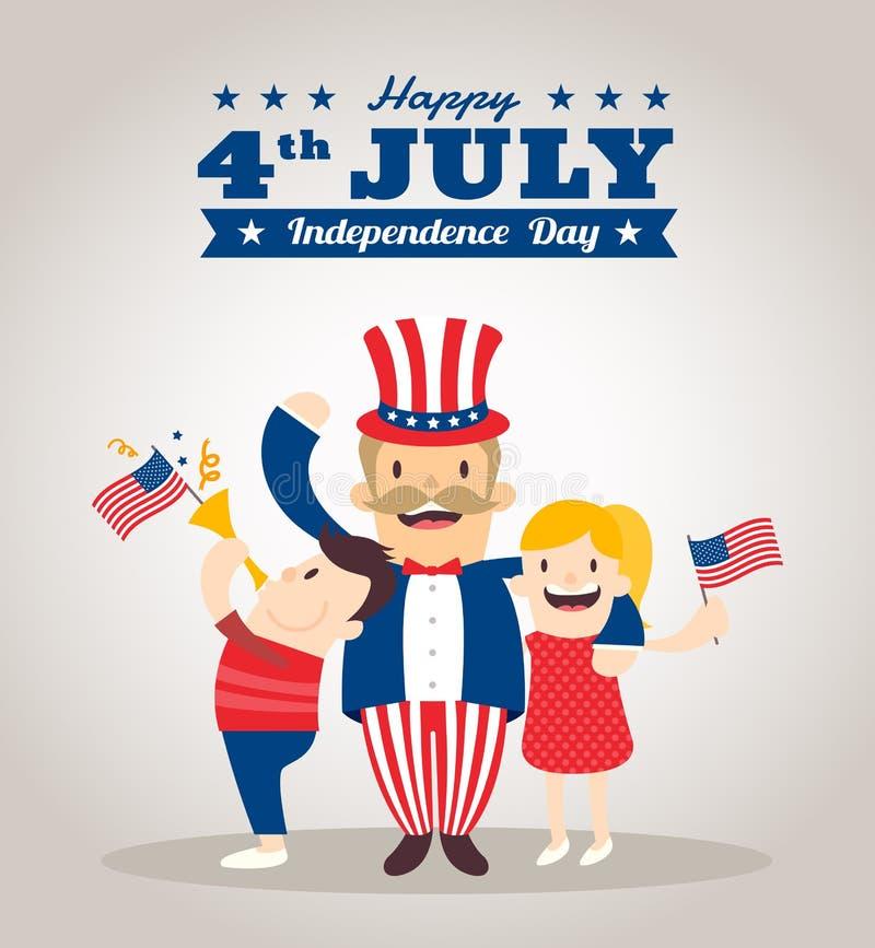 Historieta del tío Sam con los niños, 4tos feliz del Día de la Independencia de julio ilustración del vector