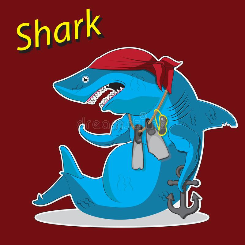 Historieta del tiburón del carácter que se sienta con un ancla y las aletas Imagen del vector ilustración del vector