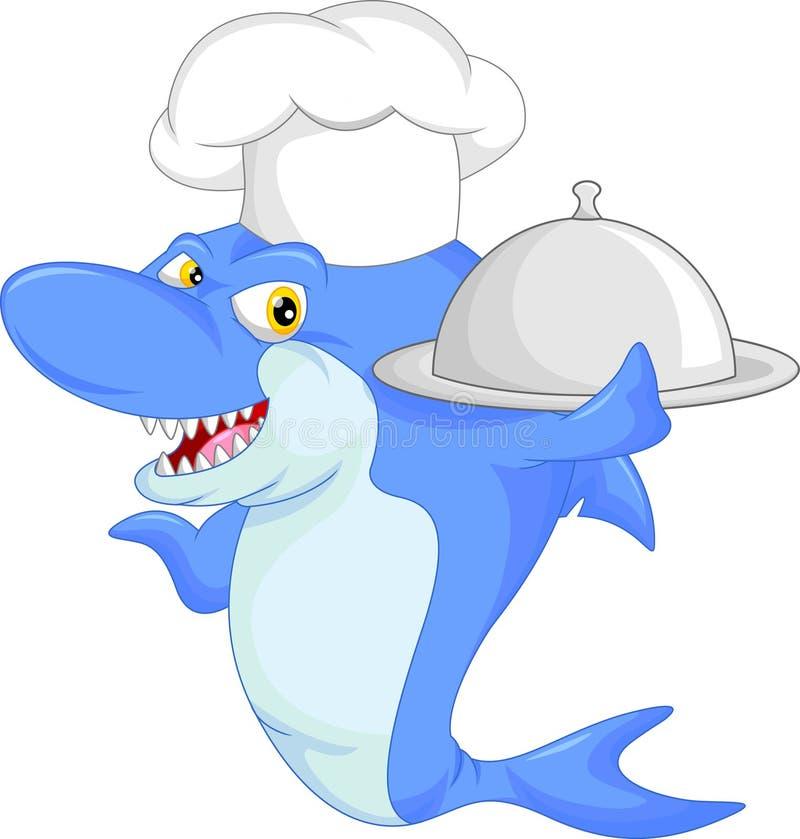 Historieta del tiburón del cocinero ilustración del vector