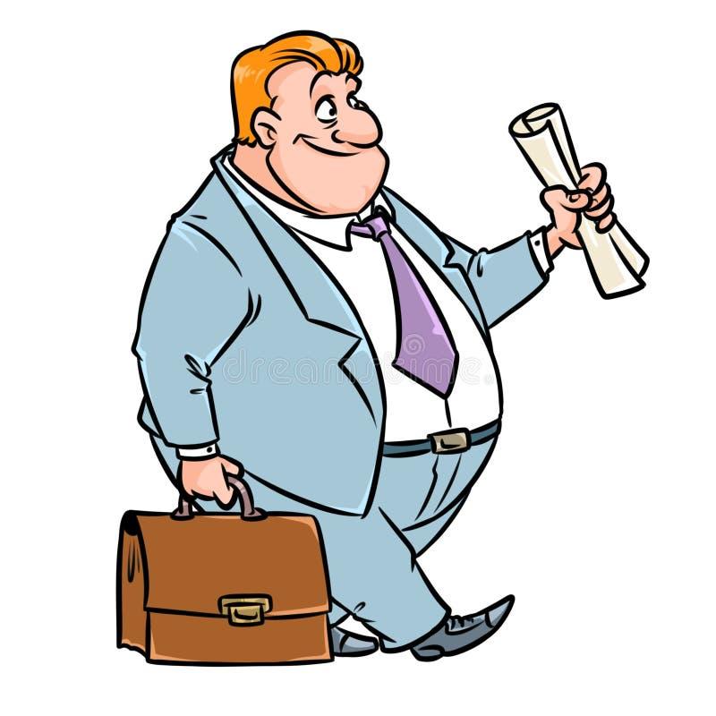 Historieta del traje de la cartera del traje de negocios del hombre de negocios stock de ilustración