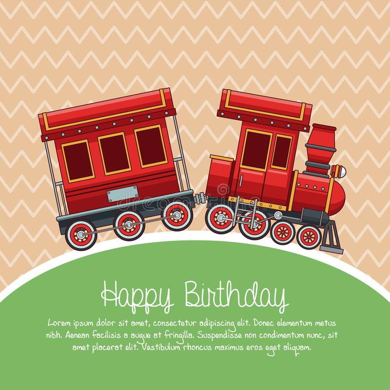 Historieta del tren del feliz cumpleaños stock de ilustración