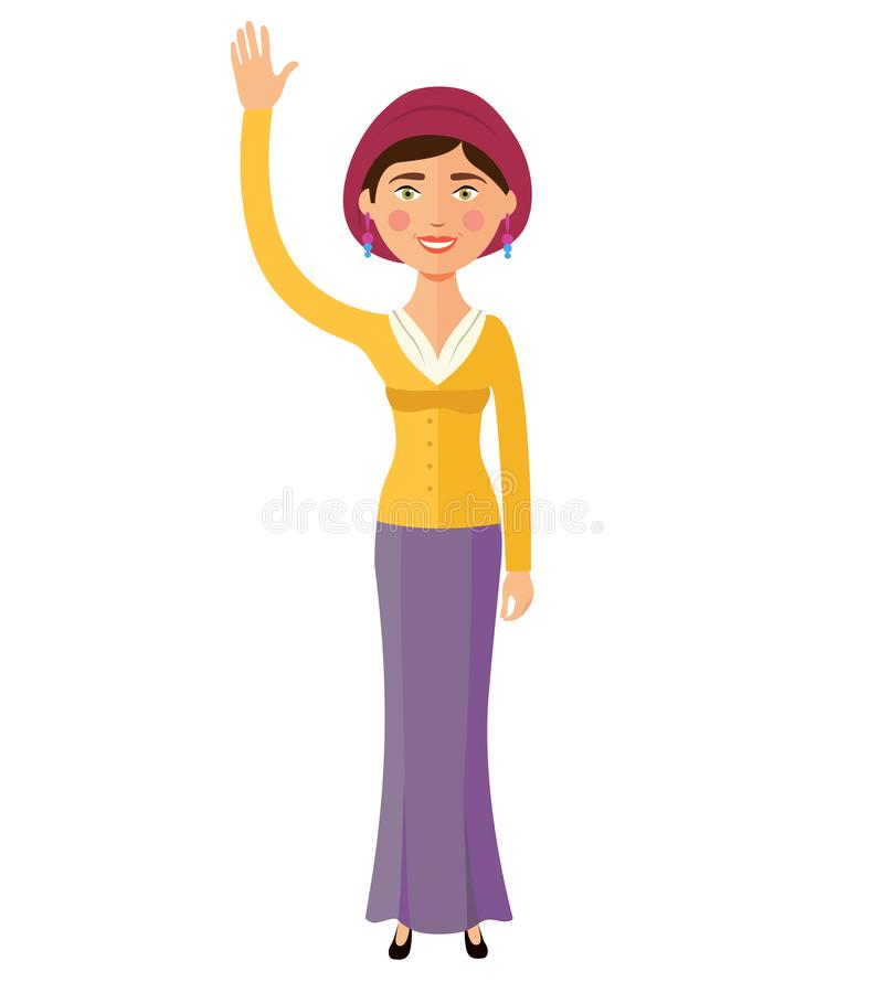 Historieta del vector de la mano de la mujer que agita judía feliz plana aislada en blanco ilustración del vector