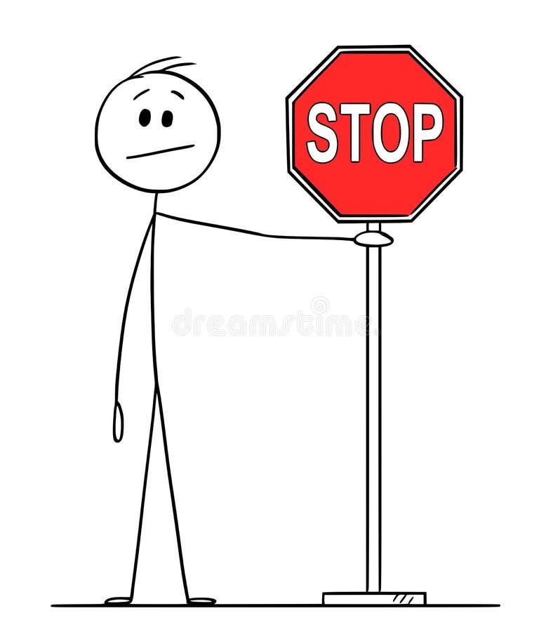 Historieta del vector de la muestra del hombre o de Holding Red Stop del hombre de negocios stock de ilustración