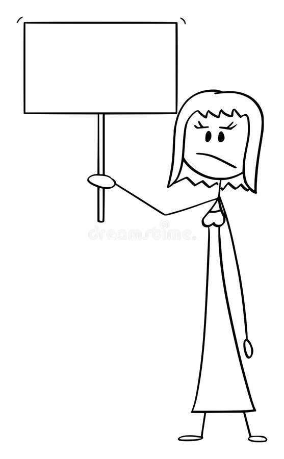 Historieta del vector de la mujer o de la empresaria enojada Holding Empty Sign stock de ilustración