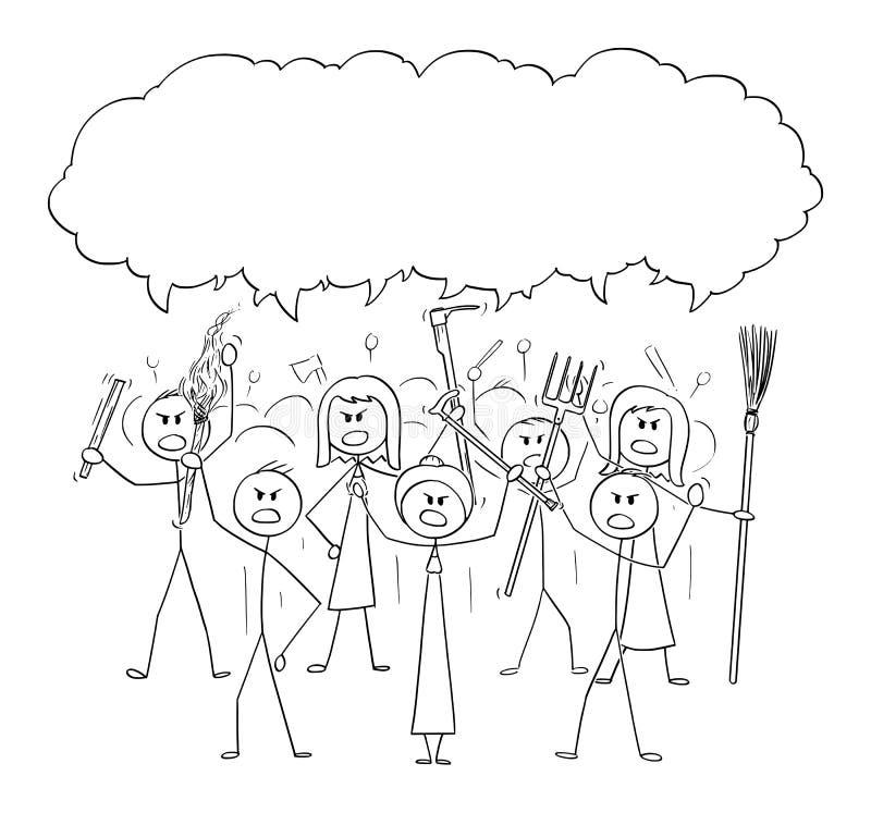 Historieta del vector de los caracteres enojados del palillo de la multitud con las herramientas como las armas y burbuja vacía d libre illustration