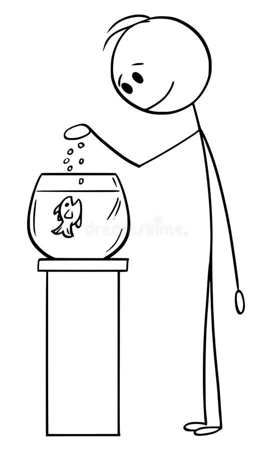 Historieta del vector de los pescados de alimentación del hombre en Fishbowl o el tanque o acuario stock de ilustración