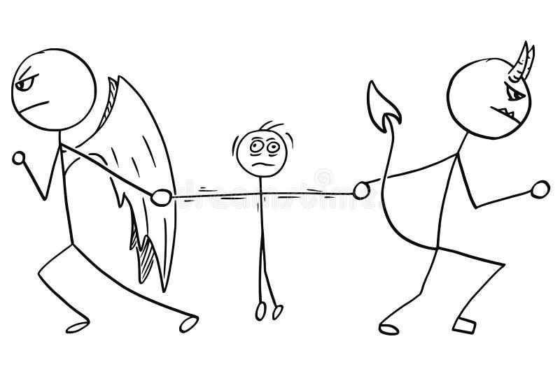 Historieta del vector del ángel y de la lucha que lucha del diablo para el hombre stock de ilustración