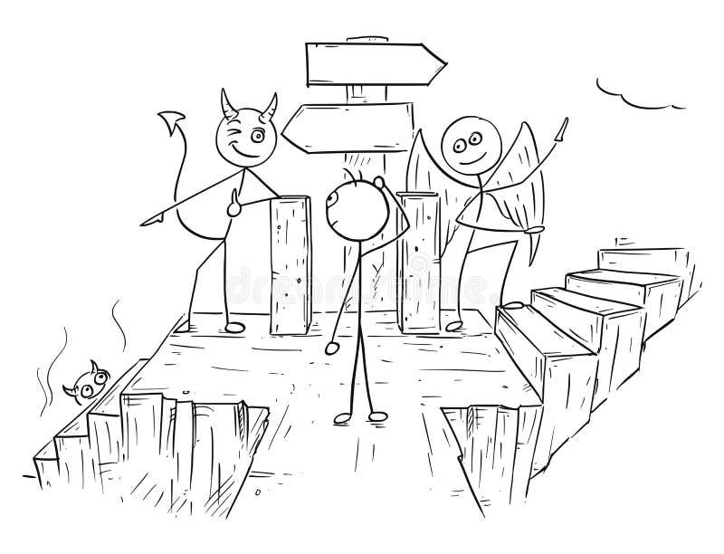 Historieta del vector del ángel y diablo que muestra a hombre dos maneras al infierno A ilustración del vector