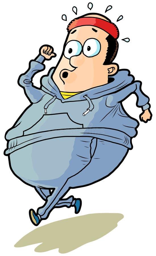 Historieta del vector del hombre calvo del exceso de peso que activa libre illustration