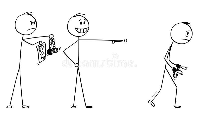 Historieta del vector del hombre de negocios Making una mofa de otro hombre que va a encarcelar con las esposas mientras que el p stock de ilustración