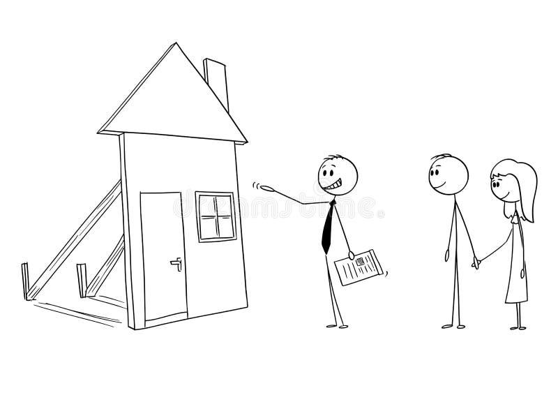 Historieta del vector del hombre de negocios o del agente inmobiliario o agente inmobiliario que ofrece la casa falsa de la famil stock de ilustración
