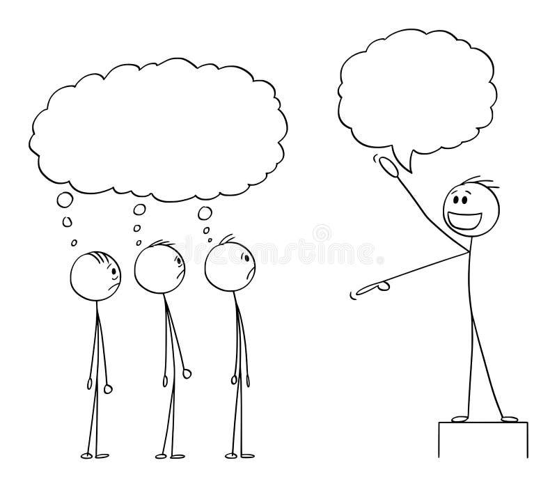 Historieta del vector del hombre, del líder o de Boss entusiasta Talking a la muchedumbre o a los empleados, están pensando algo  stock de ilustración