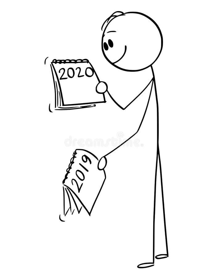 Historieta del vector del hombre o del hombre de negocios Looking en el calendario cómo el año 2019 está cambiando en 2020 stock de ilustración