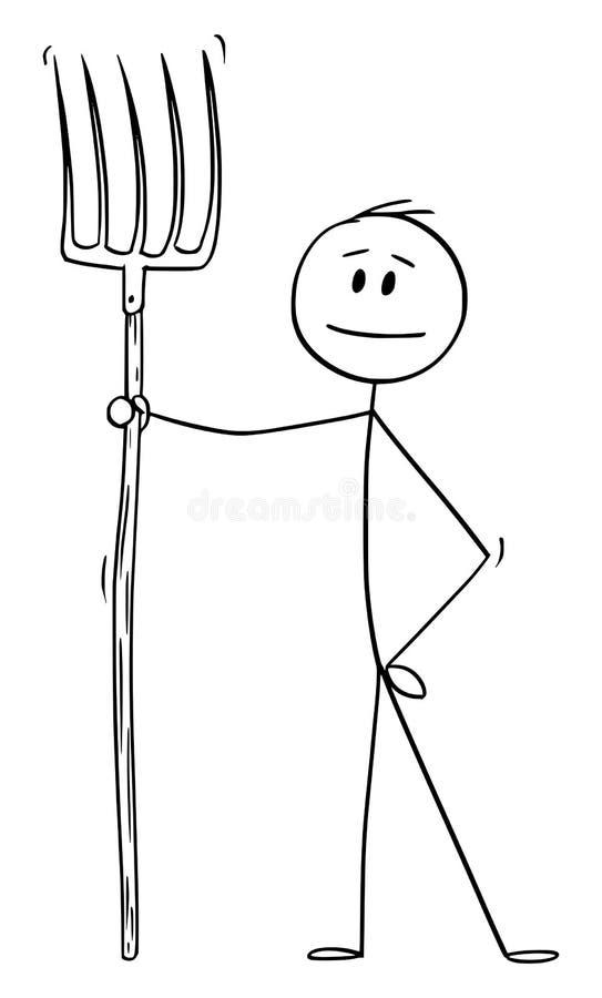 Historieta del vector del hombre o granjero o jardinero Holding Fork o bieldo libre illustration