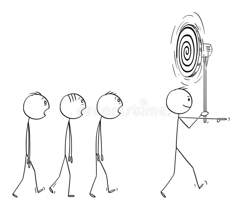 Historieta del vector del hombre o líder empresarial Leading Group o equipo de gente o de trabajadores hipnotizados libre illustration