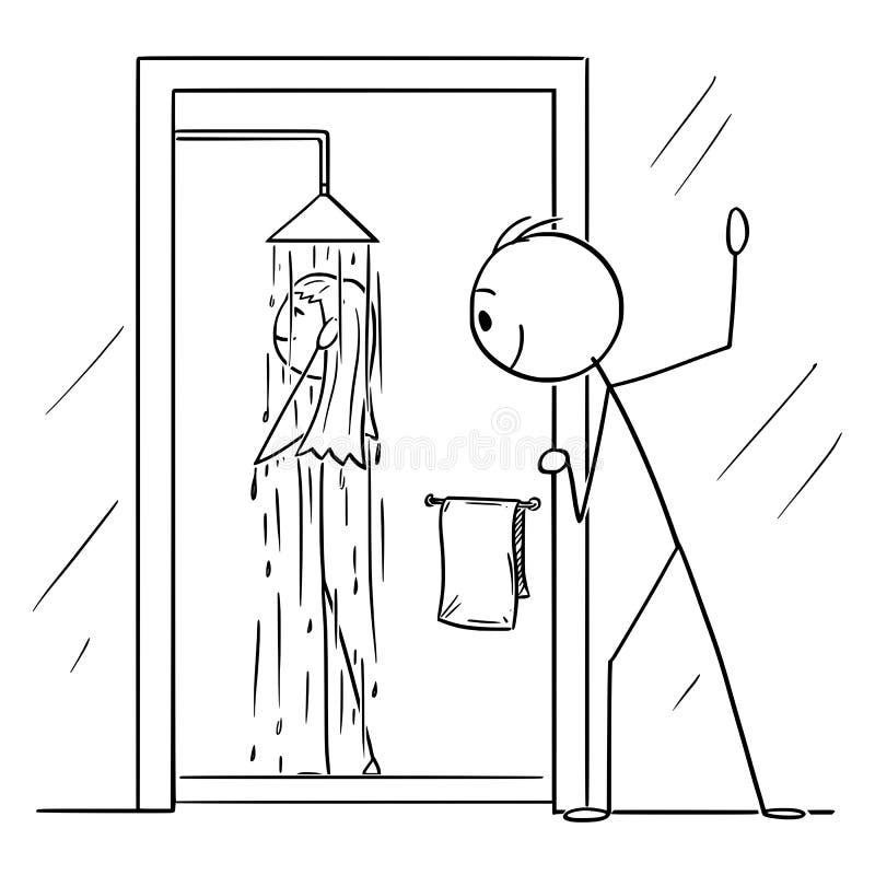 Historieta del vector del hombre o del mirón curioso que mira a la mujer desnuda el tomar de la ducha en cuarto de baño
