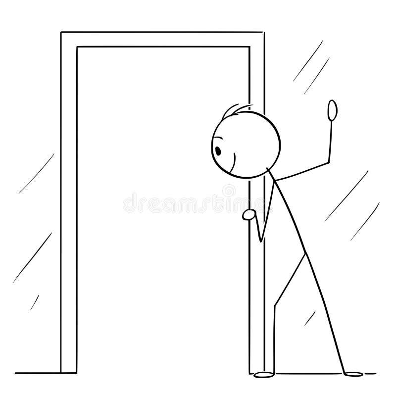 Historieta del vector del hombre o del mirón curioso que mira a través de puerta abierta ilustración del vector
