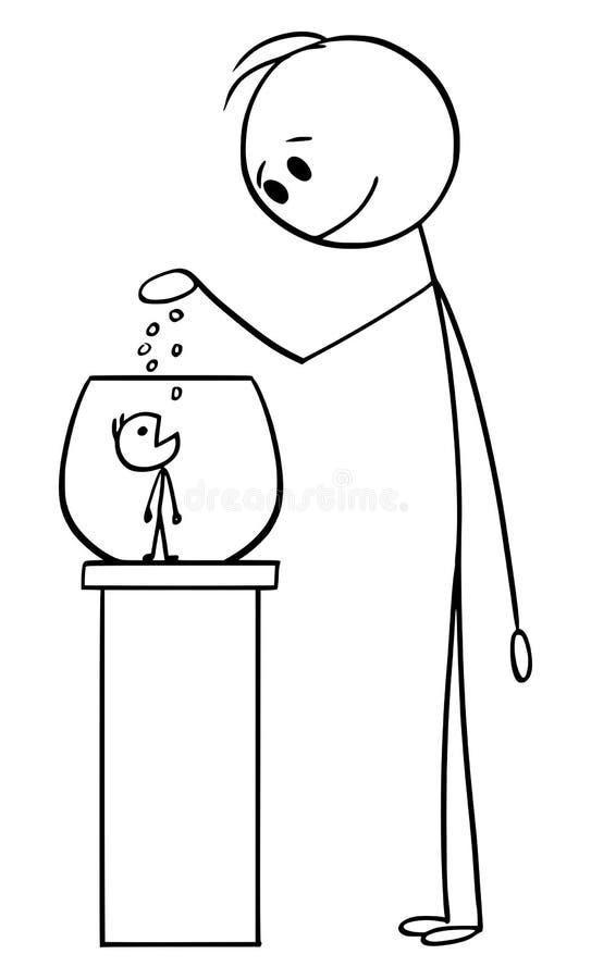 Historieta del vector del hombre que alimenta al pequeño hombre como animal doméstico o animal en Fishbowl o terrario o vivero ilustración del vector