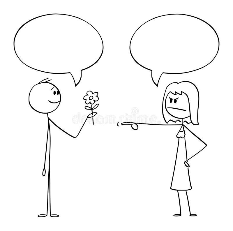 Historieta del vector del hombre romántico que sostiene las flores y que las da a la mujer enojada Ambos tienen la burbuja o glob libre illustration
