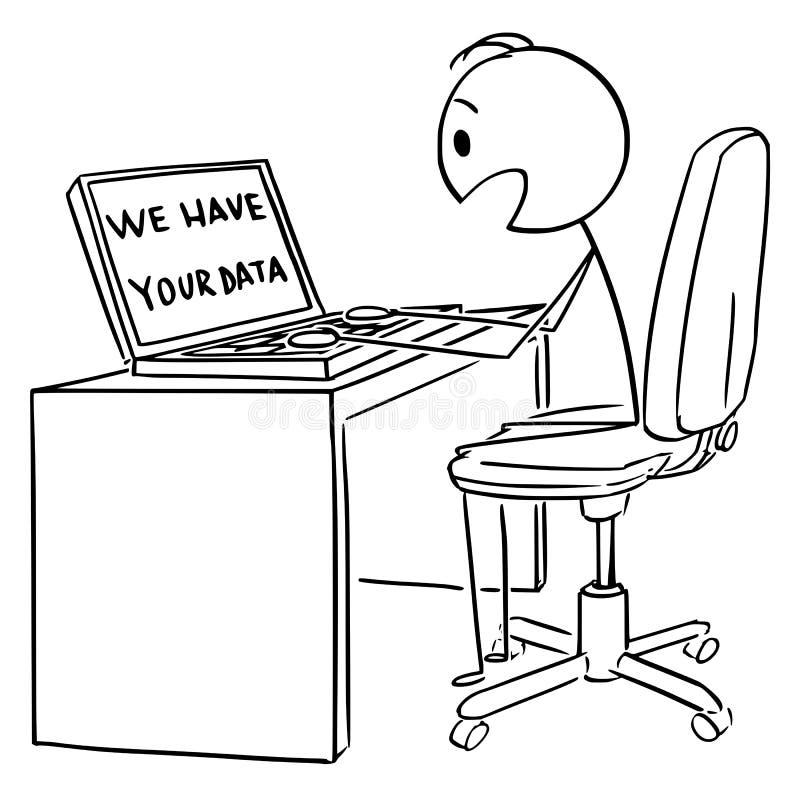 Historieta del vector del hombre Shocked u hombre de negocios Working en el ordenador o el ordenador portátil y la mirada tenemos stock de ilustración