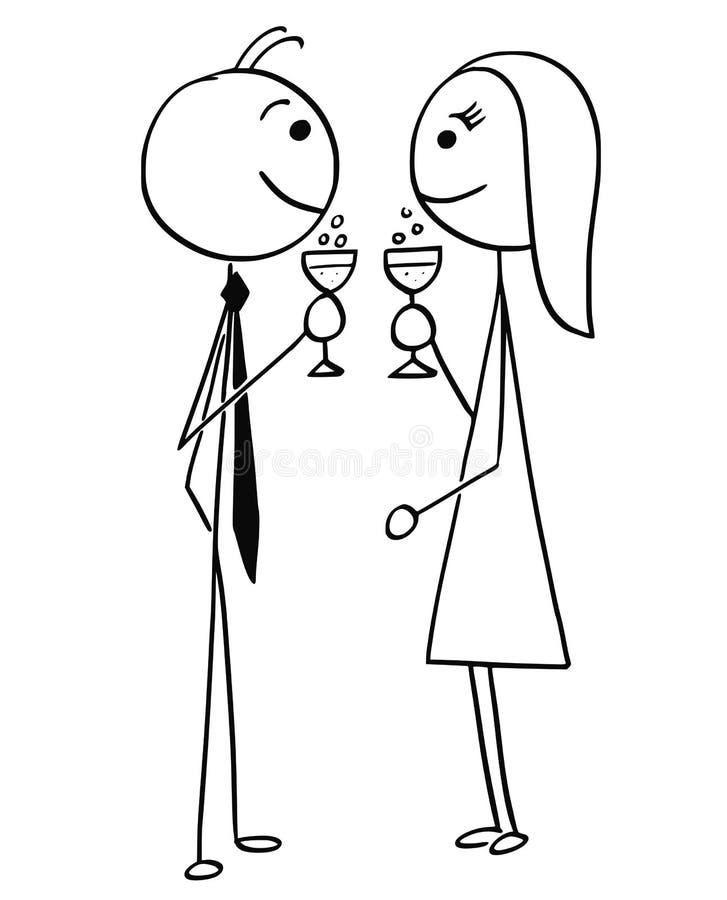 Historieta del vector del hombre y del vino de consumición o de Champán de la mujer ilustración del vector